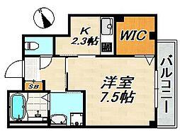 仮)長田区二葉町マンション 2階1Kの間取り