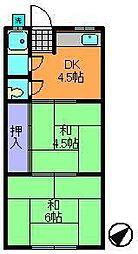 奈良県生駒市本町の賃貸アパートの間取り