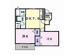ラルジュ弐番館[1階]の間取り