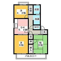 パーク・アベニュ− B棟[2階]の間取り