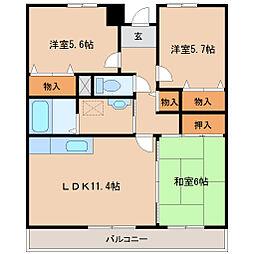 兵庫県尼崎市武庫之荘7丁目の賃貸マンションの間取り