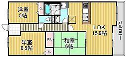 浅香山グリーンマンション[1階]の間取り