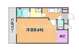JR津山線 法界院駅 徒歩9分の賃貸マンション 2階1Kの間取り