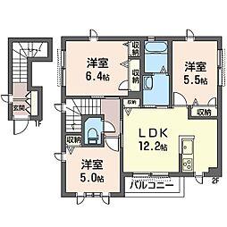 (仮)平塚市北金目3丁目シャーメゾンD[2階]の間取り