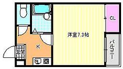 ビロウズコマガワパート1[5階]の間取り
