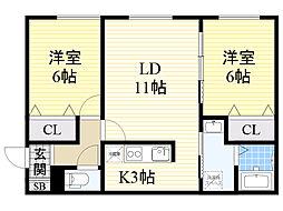 北海道札幌市北区篠路10条4丁目の賃貸アパートの間取り