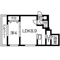 札幌市営南北線 中島公園駅 徒歩13分の賃貸マンション 4階1LDKの間取り