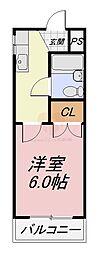 南海高野線 北野田駅 徒歩5分の賃貸マンション 2階1Kの間取り