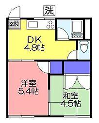 塩田荘[201号室]の間取り