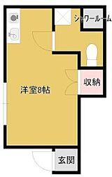 バス 遠鉄バス静岡大学下車 徒歩3分の賃貸アパート 1階ワンルームの間取り