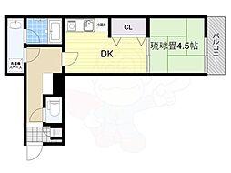震雲マンション 3階1DKの間取り