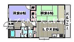 岡山県岡山市北区北方2丁目の賃貸マンションの間取り