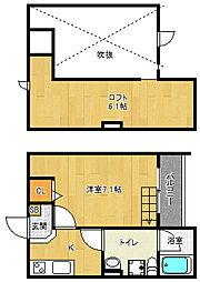 京都府京都市南区吉祥院九条町の賃貸アパートの間取り