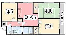 ロイヤルコーポ広畑[303号室]の間取り