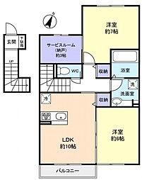 キャトルセゾン伊藤II[2階]の間取り