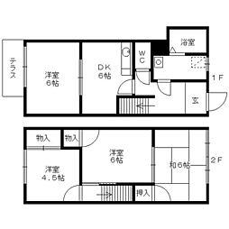 [タウンハウス] 福岡県久留米市東合川3丁目 の賃貸【/】の間取り