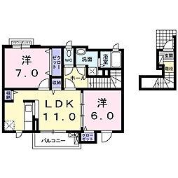 南海高野線 萩原天神駅 徒歩17分の賃貸アパート 2階2LDKの間取り