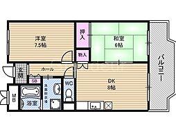 アーバン北田[7階]の間取り