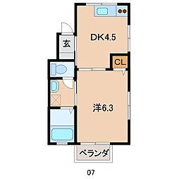 ロイヤルコート岡崎 2階1DKの間取り