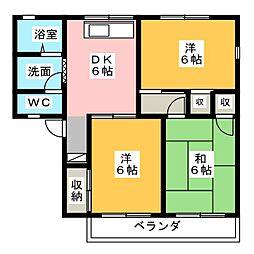 岩崎ハイツB[1階]の間取り