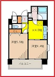 東京都墨田区吾妻橋2丁目の賃貸マンションの間取り