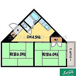滋賀県大津市本宮2丁目の賃貸マンションの間取り