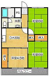 久保山コーポ[4階]の間取り