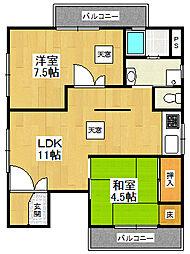 キュービック南武庫之荘[3階号室]の間取り