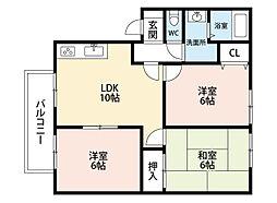 チェリーハイツC棟[2階]の間取り