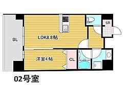 Bonコンド梅田東 11階1LDKの間取り