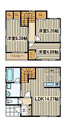 西武池袋線 石神井公園駅 徒歩24分の賃貸一戸建て 3LDKの間取り