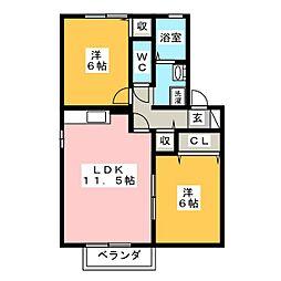 愛知県岡崎市上里1丁目の賃貸アパートの間取り