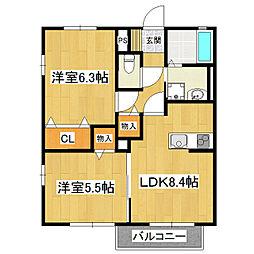 ブバルディアD棟[2階]の間取り
