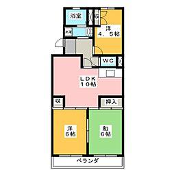 リバーサイド富士[4階]の間取り