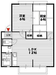大阪府堺市中区土師町3丁の賃貸アパートの間取り
