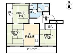 UR花川中央 4階3DKの間取り