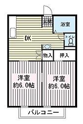 メアリータウンA棟[2階]の間取り