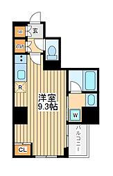 アゼスト川崎大師2 5階ワンルームの間取り