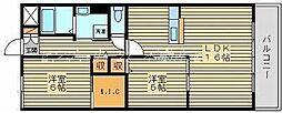 岡山県岡山市南区浜野2丁目の賃貸マンションの間取り