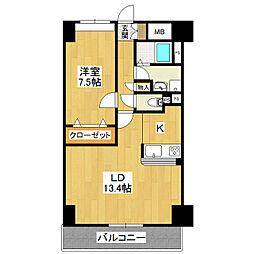 Fleek Tower ひたち野東 2階1LDKの間取り