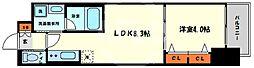 レオンコンフォート西天満 11階1LDKの間取り