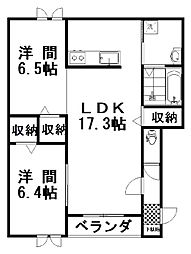 フォンテーヌ弥生II 1階2LDKの間取り