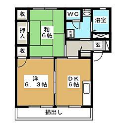 コーポ仲田 A[1階]の間取り