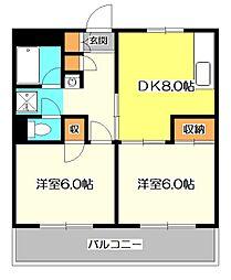 東京都小金井市貫井南町4丁目の賃貸マンションの間取り