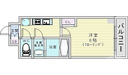 レオンコンフォート京橋イースト 10階1Kの間取り