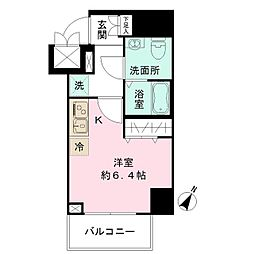 エヌステージトヨダ 6階1Kの間取り