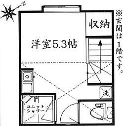 東京都渋谷区千駄ヶ谷3丁目の賃貸アパートの間取り