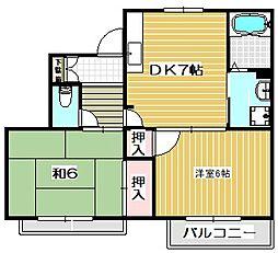 大阪府茨木市東太田3丁目の賃貸アパートの間取り