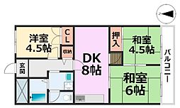 橋本第1マンション[401号室号室]の間取り
