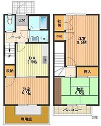 東京都八王子市めじろ台2丁目の賃貸アパートの間取り